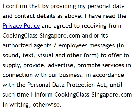 Cooking Class Singapore Privacy Policy and Terms of Use